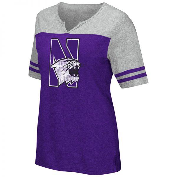 Northwestern University Wildcats Colosseum Ladies Purple / Heather Grey On A Break V-Neck T-Shirt with N-Cat Design