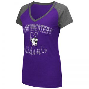 Northwestern University Wildcats Colosseum Ladies Purple / Heather Charcoal Ramoray V-Neck S/S T-Shirt with N-Cat Design