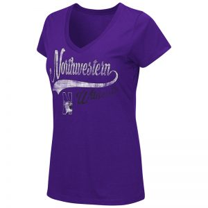 Northwestern University Wildcats Colosseum Ladies Purple How You Doin' V-Neck S/S T-Shirt with N-Cat Design