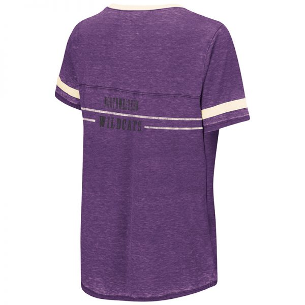 Northwestern University Wildcats Colosseum Ladies Purple Gunther Jersey S/S T-Shirt with N-Cat Design-Back