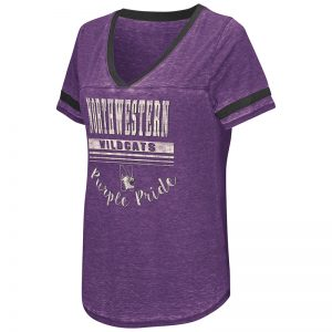Northwestern University Wildcats Colosseum Ladies Purple Gunther Jersey S/S T-Shirt with N-Cat Design
