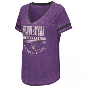 Northwestern University Wildcats Colosseum Ladies Purple Gunther Jersey S/S T-Shirt with N-Cat Design