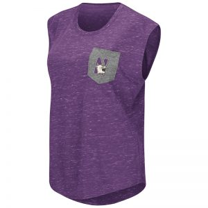 Northwestern University Wildcats Colosseum Ladies Purple / Heather Grey Moo Point Pocket T-Shirt with N-Cat Design
