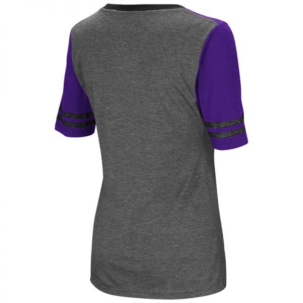 Northwestern University Wildcats Colosseum Ladies Heather Charcoal/Purple Mctwist S/S Jersey T-Shirt with N-Cat Design-Back