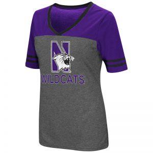 Northwestern University Wildcats Colosseum Ladies Heather Charcoal/Purple Mctwist S/S Jersey T-Shirt with N-Cat Design