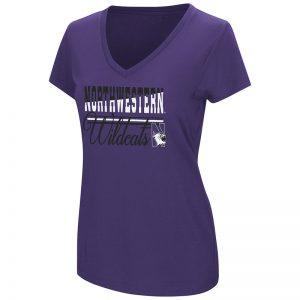 Northwestern University Wildcats Colosseum Ladies Purple Powerplay S/S T-Shirt with N-Cat Design