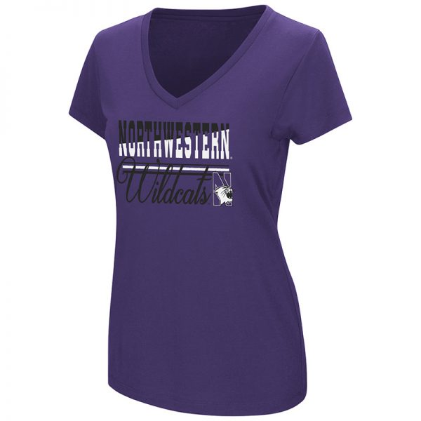 Northwestern University Wildcats Colosseum Ladies Purple Powerplay S/S T-Shirt with N-Cat Design