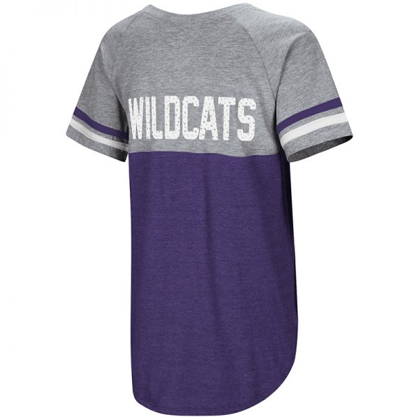 Northwestern University Wildcats Colosseum Ladies Purple/Heather Grey Southbend Blue Sox Oversized S/S T-Shirt with N-Cat Design-Back