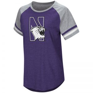 Northwestern University Wildcats Colosseum Ladies Purple/Heather Grey Southbend Blue Sox Oversized S/S T-Shirt with N-Cat Design