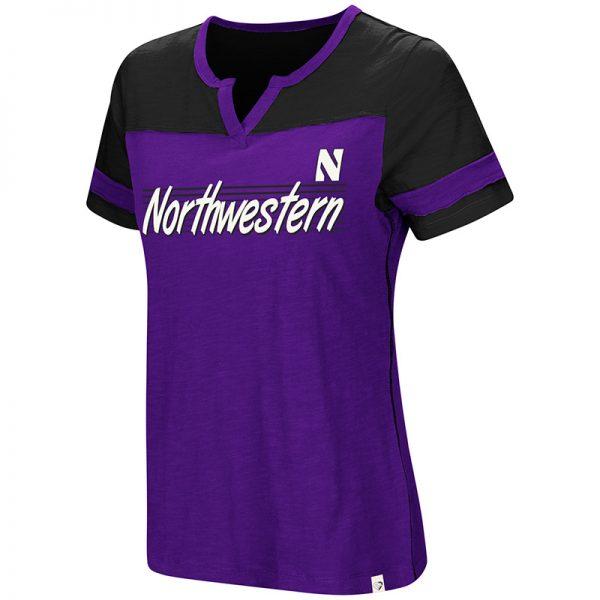 Northwestern University Wildcats Colosseum Ladies Purple/Black Coach V-Nopurpleh S/S T-Shirt with Stylized N Design