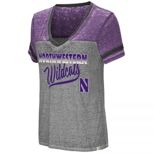 Northwestern University Wildcats Colosseum Ladies Heather Grey / Purple Final Game Oversized T-Shirt with Stylized N Design