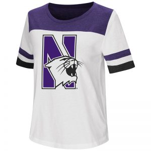 Northwestern University Wildcats Colosseum Ladies White/Purple Show Me The Money S/S T-Shirt with N-Cat Design