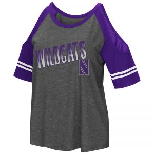 Northwestern University Wildcats Colosseum Ladies Heather Charcoal/Purple Maguire Cold Shoulder T-Shirt with Stylized N Design