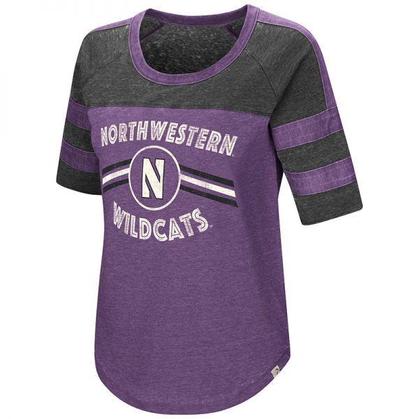 Northwestern University Wildcats Colosseum Ladies Purple Big Sweet Dollars S/S T-Shirt with Stylized N Design