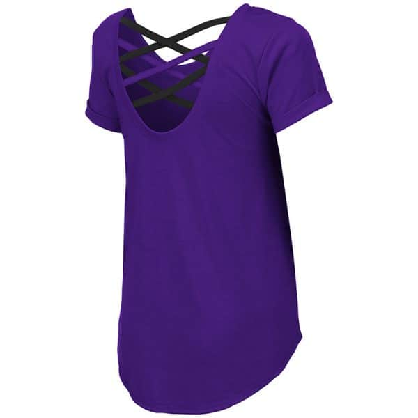 Northwestern University Wildcats Colosseum Ladies Purple Milan Strappy T-Shirt with N-Cat Design-Back