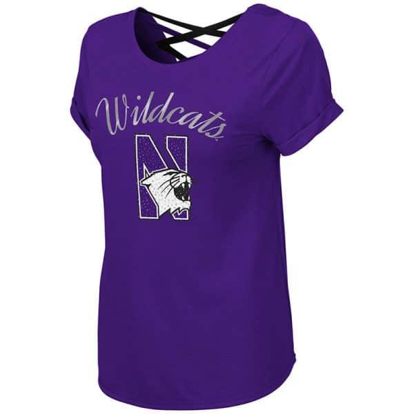 Northwestern University Wildcats Colosseum Ladies Purple Milan Strappy T-Shirt with N-Cat Design