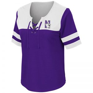 Northwestern University Wildcats Colosseum Ladies Purple/Black Naples Lace-Up T-Shirt with N-Cat Design