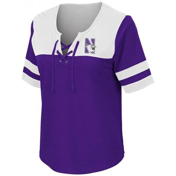 Northwestern University Wildcats Colosseum Ladies Purple/Black Naples Lace-Up T-Shirt with N-Cat Design