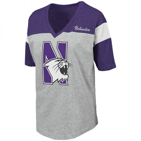 Northwestern University Wildcats Colosseum Ladies Heather Grey/Purple/Black Genoa S/S T-Shirt with N-Cat Design