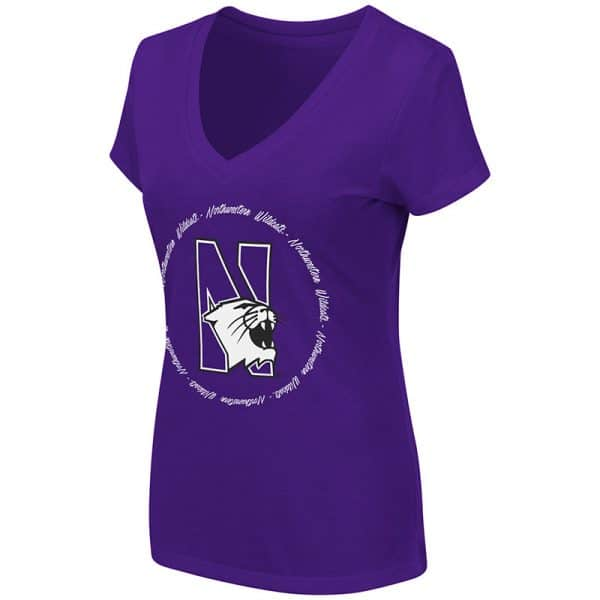 Northwestern University Wildcats Colosseum Ladies Purple Parma V-Neck T-Shirt with N-Cat Design