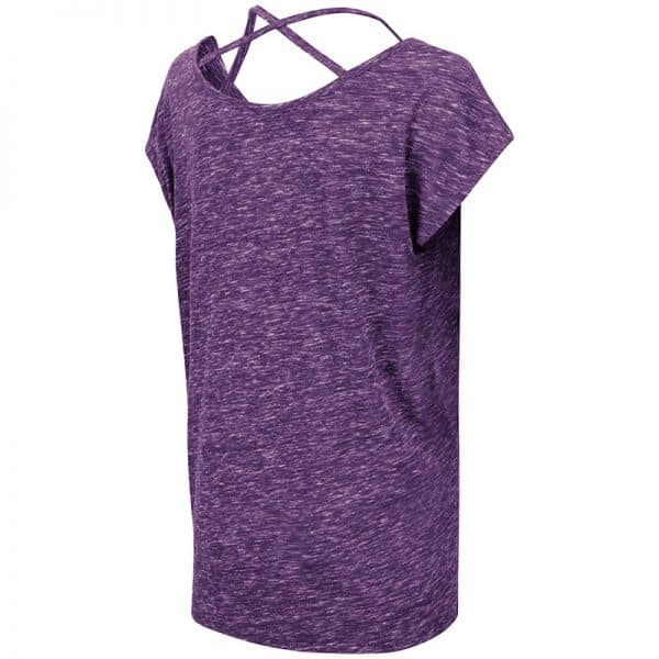 Northwestern University Wildcats Colosseum Ladies Purple Como Tie Front T-Shirt with N-Cat Design-Back