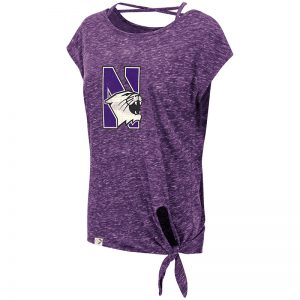 Northwestern University Wildcats Colosseum Ladies Purple Como Tie Front T-Shirt with N-Cat Design