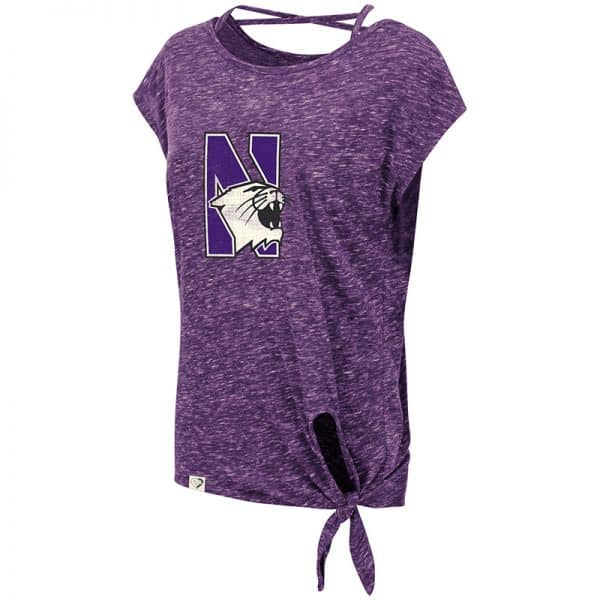 Northwestern University Wildcats Colosseum Ladies Purple Como Tie Front T-Shirt with N-Cat Design