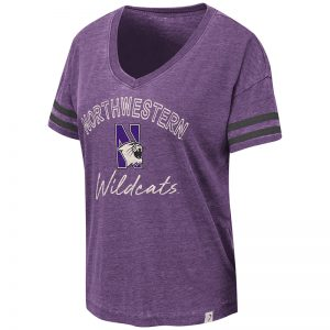 Northwestern University Wildcats Colosseum Ladies Purple/Black Savona V-Neck T-Shirt with N-Cat Design