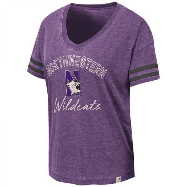 Northwestern University Wildcats Colosseum Ladies Purple/Black Savona V-Neck T-Shirt with N-Cat Design
