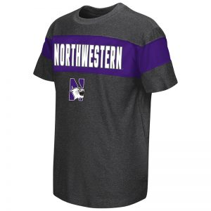 Northwestern University Wildcats Colosseum Youth Heather Charcoal / Purple Newman S/S T-Shirt with N-Cat Design