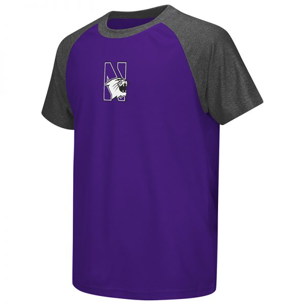 Northwestern University Wildcats Colosseum Youth Purple / Heather Charcoal Get Out Raglan S/S T-Shirt with N-Cat Design
