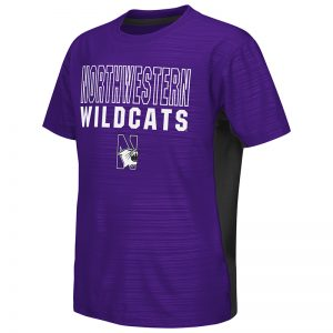Northwestern University Wildcats Colosseum Youth Purple/Black In The Vault Cut & Sew S/S T-Shirt with N-Cat Design