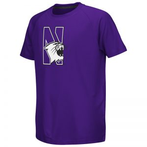 Northwestern University Wildcats Colosseum Youth Heather Purple Kramer Raglan S/S T-Shirt with N-Cat Design