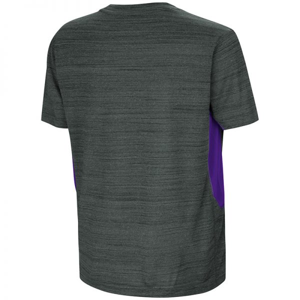 Northwestern University Wildcats Colosseum Youth Black/Purple Over The Fence S/S T-Shirt with Stylized N Design-Back