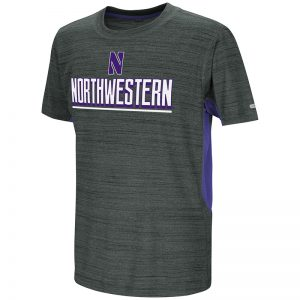 Northwestern University Wildcats Colosseum Youth Black/Purple Over The Fence S/S T-Shirt with Stylized N Design