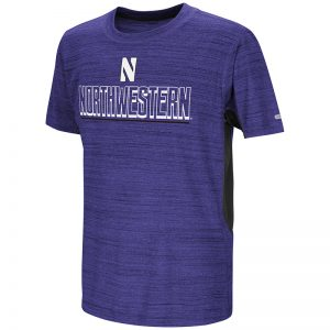 Northwestern University Wildcats Colosseum Youth Purple / Black Over The Fence S/S T-Shirt with Stylized N Design