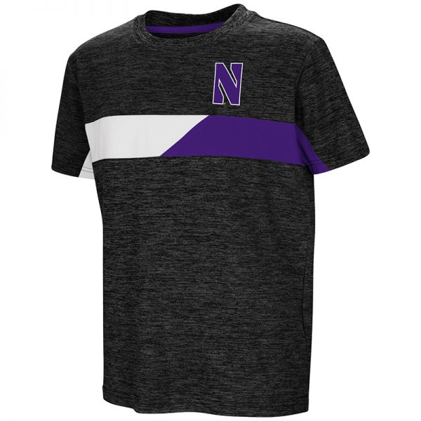 Northwestern University Wildcats Colosseum Youth Black Lifeguard S/S T-Shirt with Stylized N Design