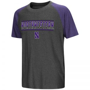 Northwestern University Wildcats Colosseum Youth Charcoal / Heather Purple Blackotty S/S Raglan T-Shirt with Stylized N Design