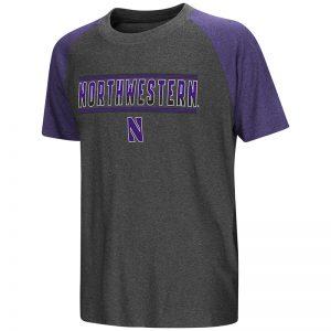 Northwestern University Wildcats Colosseum Youth Charcoal / Heather Purple Blackotty S/S Raglan T-Shirt with Stylized N Design