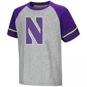 Northwestern University Wildcats Colosseum Youth Heather Grey/ Purple Bertram S/S Raglan T-Shirt with Stylized N Design