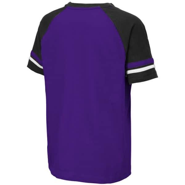Northwestern University Wildcats Colosseum Youth Purple/Black/White Ottawa Raglan T-Shirt with N-Cat Design-Back