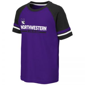 Northwestern University Wildcats Colosseum Youth Purple/Black/White Ottawa Raglan T-Shirt with N-Cat Design