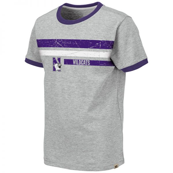 Northwestern University Wildcats Colosseum Youth Heather Grey/Purple Ontario S/S T-Shirt with N-Cat Design