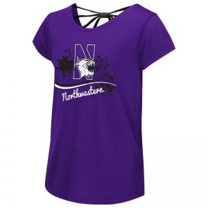 Northwestern University Wildcats Colosseum Girls Purple I Know! Bow Back S/S T-Shirt with N-Cat Design-Back