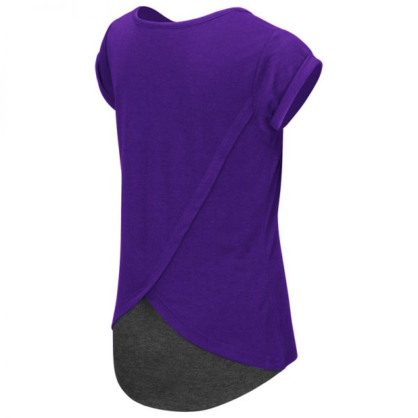 Northwestern University Wildcats Colosseum Girls Purple/Heather Charcoal Baywapurpleh Split Back S/S T-Shirt with N-Cat Design-Back