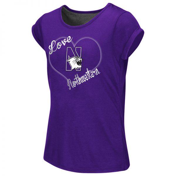 Northwestern University Wildcats Colosseum Girls Purple/Heather Charcoal Baywapurpleh Split Back S/S T-Shirt with N-Cat Design