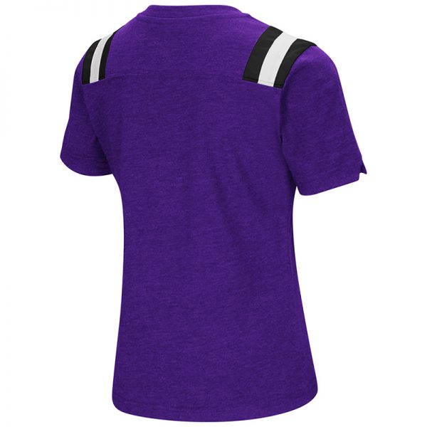 Northwestern University Wildcats Colosseum Girls Rugby S/S T-Shirt (Purple)with N-Cat Design-Back