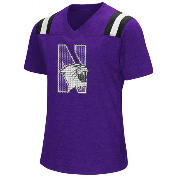 Northwestern University Wildcats Colosseum Girls Rugby S/S T-Shirt (Purple)with N-Cat Design