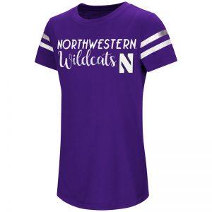 Northwestern University Wildcats Colosseum Girls Purple Wendy Peffercorn S/S T-Shirt with Stylized N Design