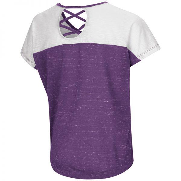Northwestern University Wildcats Colosseum Girls Purple / White Palledorous S/S Dolman T-Shirt with Stylized N Design-Back